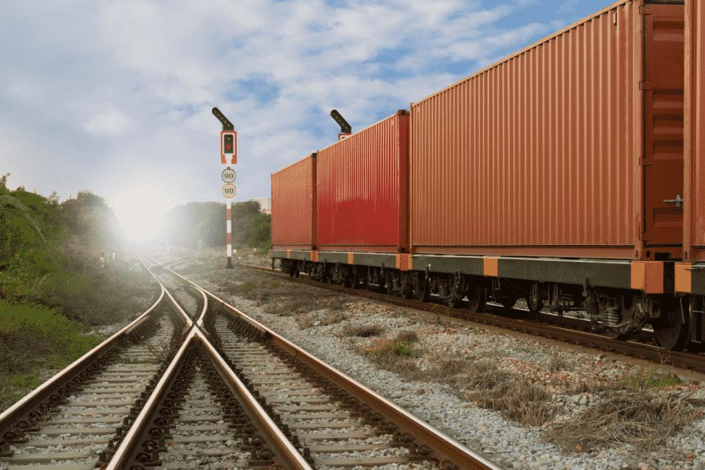 Intermodal cargo transported by a train