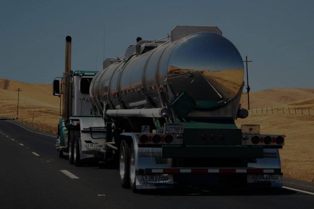 Bulk cargo truck on the road