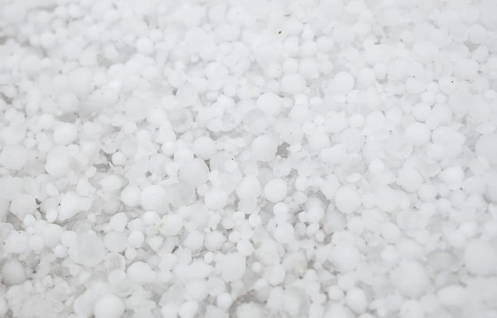 The ground after a strong hailstorm