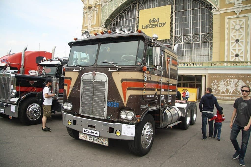 A classic Kenworth K100 cabover tractor truck