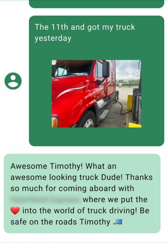 Trucker starting to work at a job posted on TruckerJobUSA.com