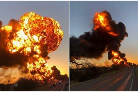 Semi Collides with Train, Causes Massive Explosion