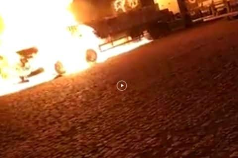 WATCH: Truck on Fire Explodes at a Gas Station